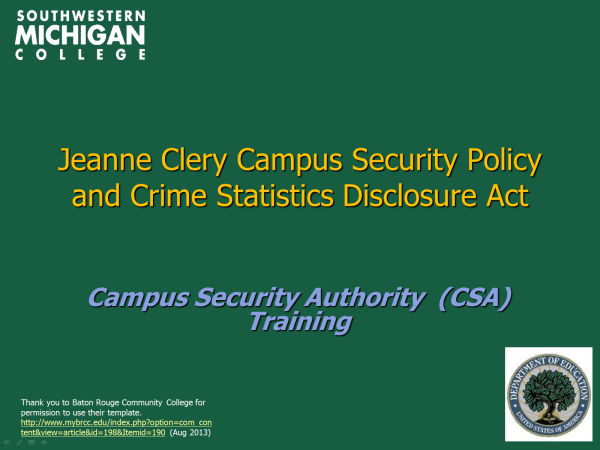 Jeanne Clery Campus Security Policy